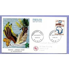 france année 1964 enveloppe circulée 1er jour timbre n°1432 coopération france afrique noire et madagascar paris 6 novembre 1964 -