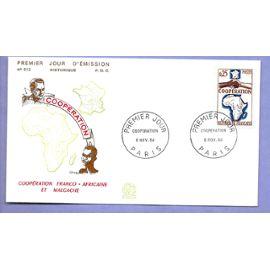 france année 1964 enveloppe 1er jour timbre n°1432 coopération franco africaine et malgacher paris 6 novembre 1964 -