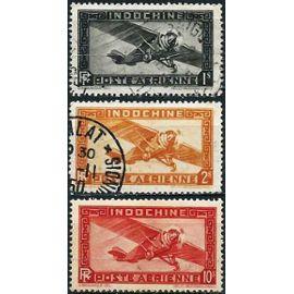 Indochine (Actuel Vietnam) 1933 / 38, Beaux timbres de poste aérienne Yvert 11 12 14, avion monomoteur, neufs**/obli.