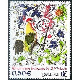 France 2003, Très Bel Exemplaire Yvert 3629, Émission Commune France Inde, Enluminure Du Xvème Siècle, Le Coq, Oblitéré, Tbe