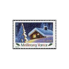 Timbre Oblitéré Meilleurs Voeux / Chalet Sous La Neige - France Année 2002 - Yvert et Tellier n°3533 non autoadhésif