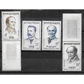 Timbres neufs de 1958,n°1142/1145 Grands médecins:Philippe Pinel,Fernand Widal,Charles Nicolle,René Leriche.