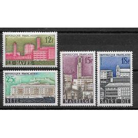 Timbres neufs de 1958,n°1152/1155 Villes reconstruites:Le Havre,Maubeuge,Saint-Dié,Sête.