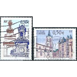 france 2003, série touristique, beaux timbres yvert 3580 tulle en corrèze et 3608 pontarlier dans le doubs, oblitérés, TBE