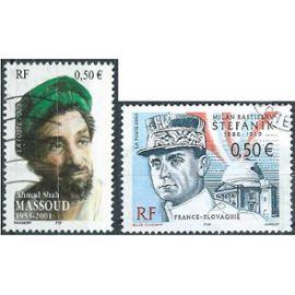 france 2003, beaux timbres yvert 3554 émission commune avec la slovaquie, milan stefanik et 3594 le commandant afghan massoud, oblitérés, TBE