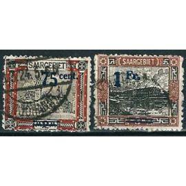 Allemagne 1921 - Sarre occupation alliée - paysages sarrois : Yv. 78 - Hotel de ville de sarrebruck, 2 mk surch. 75 cent. et Yv. 79 - faïencerie à mettlach, 3 mk. surch. 1 fr., oblit. TBE -