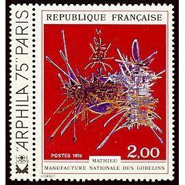 france 1974, très beau timbre neuf** luxe yvert 1813, Tapisserie de la manufacture nationale des Gobelins par Mathieu (hommage à Nicolas Fouquet).