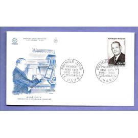 France Fdc Enveloppe 1er Jour Émission Timbre N°1412 président rené coty / le havre 25 avril 1964