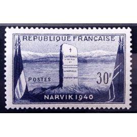 Bataille de Narvik en 1940 - 12ème Anniversaire - 30f (Impeccable n° 922) Neuf** Luxe (= Sans Trace de Charnière) - Cote 4,00€ - France Année 1952 - N11107