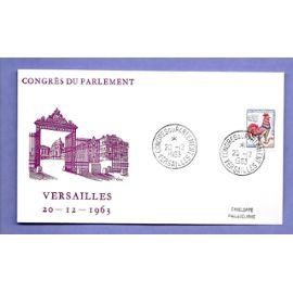 FRANCE fdc enveloppe philatélique timbre n° 1331 congrès du parlement versailles 20 décembre 1963