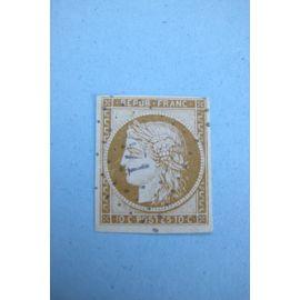 Classique 1850 - Cérès 10 c. bistre- jaune N° 1 Y&T signé 1er choix