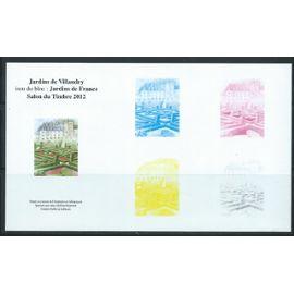 Jardins de Villandry issu du bloc Jardins de France Salon du timbre 2012 étapes successives de l