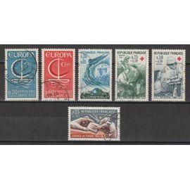 france, 1966, journée du timbre, victoire de verdun, europa, au profit de la croix-rouge, n°1477 + 1484 + 1490 + 1491 + 1508 + 1509, oblitérés.