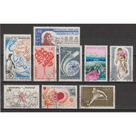 france, 1972, timbres commémoratifs (îles crozet & kerguelen, jeux olympiques, mois mondial du coeur, donneurs de sang, année tourisme...), n°1704 + 1705 + 1711 + 1716 + 1721 à 1724 + 1734, oblitérés.