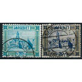 Allemagne, Land De Sarre Sous Administration Française 1922, Beaux Exemplaires Yvert 88 et 89 hotel de ville de sarrebruck, oblitérés, TBE