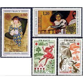 france 1975, très belle paire europa, yvert 1840 picasso - arlequin et 1841 van dongen - femme à la balustrade, et paire croix rouge, 1860 le printemps et 1861 l