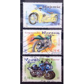 Motos - Cylindrées et Carénages - Très Jolis Majestic 0,16€ (N° 3510) + Norton Commando 750 0,16€ (N° 3511) + Voxan 1000 Café Racer 0,16€ (N° 3512) Obl - France Année 2002 - N27329