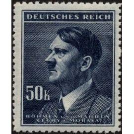 tchecoslovaquie, occupation allemande, bohème et moravie 1942, très beau timbre neuf** luxe yvert 98, portrait chancelier hitler, 50k. bleu ardoise.