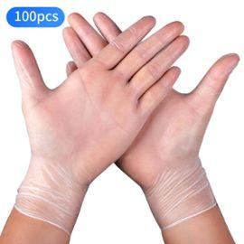 Lot de 100 gants jetables en PE transparents pour examen