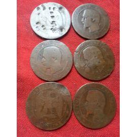 6 pieces NAPOLEON III 1856 TETE NUE 10 Centimes