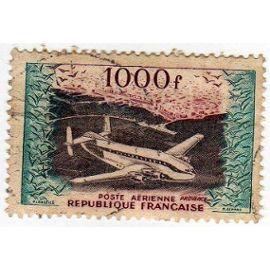 """Poste Aérienne 1954 - Y&T n°33 - 1000 Frs - BREGUET """"PROVENCE"""" ET VUE GENERALE DU PORT D"""