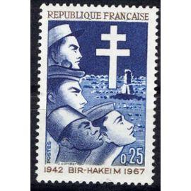 25ème anniversaire de la victoire de Bir_Hakeim  1942-1967  (ref.  Y&T : 1532)  Non oblitéré.