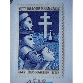 25° Anniversaire de la Victoire de Bir-Hakeim 1942/1967, Y&Tn°1532.