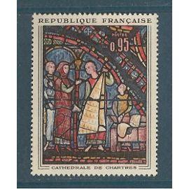 france ANNéE 1963 N° 1399 NEUF** LES MARCHANDS DE FOURRURES VITRAIL DE LA cathédrale de chartres
