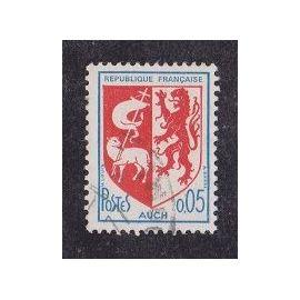 Timbre N°1468 Y&T 5c bleu et rouge armoiries de villes Auch