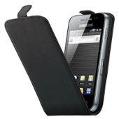 Housse Etui Coque Cuir Noire Samsung S5830 Galaxy Ace