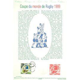 Collection Historique du Timbre Poste Français (Documents Officiels) 21 x 29.7 cm avec oblitération 1er jour : coupe monde rugby 1999 - sport