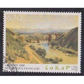 """Timbre N°2989 Y&T 6,70 F Multicolore Série Artistique Bicentenaire de la naissance de Jean-Baptiste Corot """"Le pont de Narni"""""""