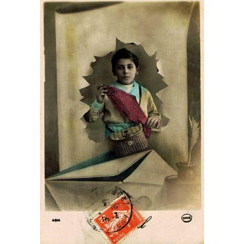 carte postale ancienne fantaisie, jeune garçon avec un poisson, 1er avril,  enveloppe | Rakuten