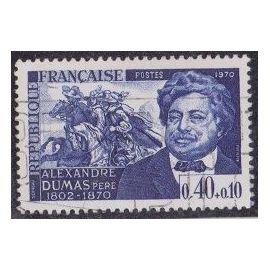 Timbre N°1628 Y&T 0,40+0,10 F bleu foncé Personnages célèbres Alexandre Dumas, écrivain Taille-douce