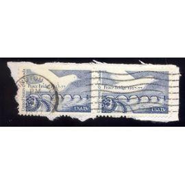 Timbre U S A, United states & canada, peace bridge 1917-1977, U S A 13 cents, oblitéré