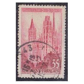 Timbre N°1129 Y&T 35,00 F rose et lie-de-vin Série Touristique cathédrale de rouen