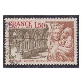 Timbre N°1938 Y&T 1,50 F brun-rouge, rouge et brun-olive Série touristique abbaye de fontenay (côte D