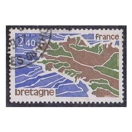 Timbre N°1917 Y&T 2,40 F olive, brun et outremer régions bretagne