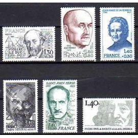 France 1980 personnages célèbres n°2095 à 2100 neuf**