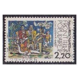 """Timbre N°2394 Y&T 2,20 F multicolore cinquantenaire du front populaire """"les loisirs"""" D"""