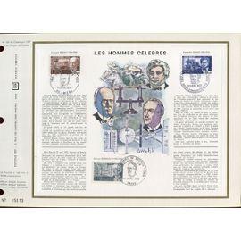 FRANCE FEUILLET ARTISTIQUE CEF 131 TIMBRES N° 1626 1627 1628 LES HOMMES célèbres AMIENS VILLIERS COTTERTS PARIS 11 AVRIL 1970