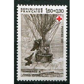 FRANCE année 1982 N° 2247 AU PROFIT DE LA CROIX ROUGE HOMMAGE A JULLES VERNE CINQ SEMAINES EN BALLON