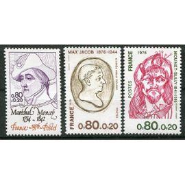 FRANCE année 1976 N° 1880 1881 1882 NEUFS**PERSONNAGES Célèbres maréchal moncey / max jacob / mounet-SULLY