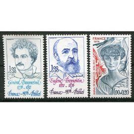 FRANCE année 1976 N° 1896 1897 1897 NEUFS** PERSONNAGES Célèbres au profit de la croix rouge  : général daumeSnil / eugène fromentin / anna de noailles