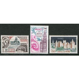 FRANCE ANNée 1977 N° 1947 1948 1949 NEUFS** série turistique ABBAYE DES PIEMONTRéS à PONT-à-mMOUSSON / tour abbatiale st amant les eaux / chateau de vitré