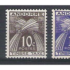 Andorre, 1946-1950, Timbres-Taxe, Type Gerbes (Légende Timbre-Taxe), N°32 + 33 + 37, Neufs.