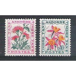 andorre, 1964-1971, timbres-taxe, flore (fleurs des champs), N°46 + 51, oblitérés.
