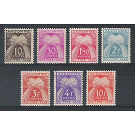 Andorre, 1943-1946, Timbres-Taxe, Type Gerbes (Légende Chiffre-Taxe), N°21 + 22 + 25 À 28 + 30, Neufs.