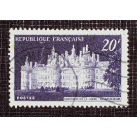 FRANCE N° 924 oblitéré de 1952 - 20f violet foncé « Château de Chambord et premier spectacle Son et Lumière »