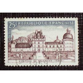FRANCE N° 1128 oblitéré de 1957 - 25f brun-rouge et gris-bleu « Château de Valençay »